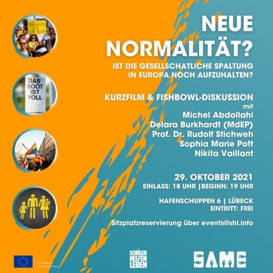 """Podiumsdiskussion: """"NEUE NORMALITÄT? Ist die gesellschaftliche Spaltung in Europa noch aufzuhalten?"""""""
